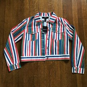 NWT FOREVER Multicolor Stripe Denim Jacket